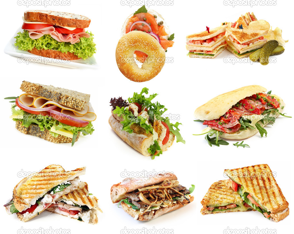 Collection of sandwiches, isolated on white. — Stock Photo #5528016