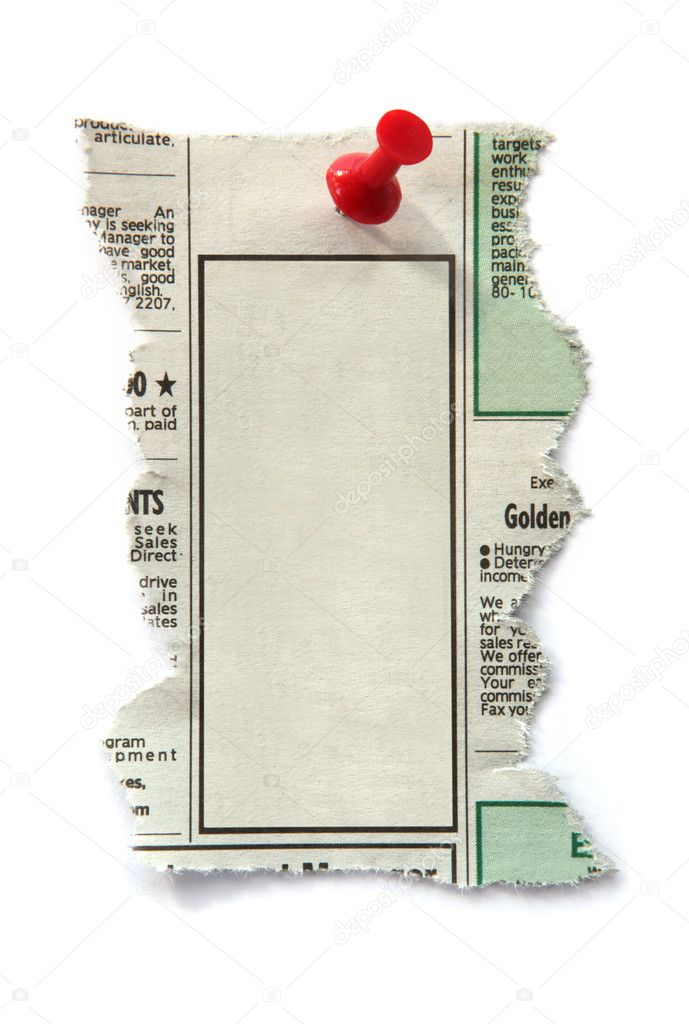 Blank newspaper classified ad, ready for your message.  Fastened with red push pin. — Stock Photo #5528436