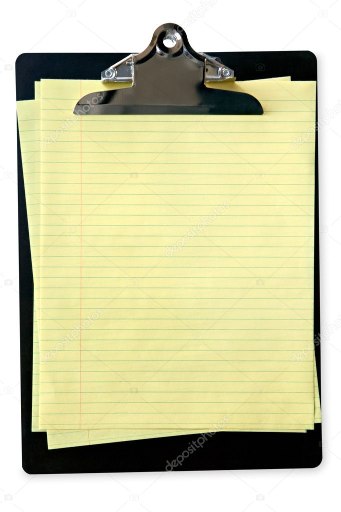 Clipboard with sheets of yellow lined notepaper, isolated on white.  Clipping path included.  Stock Photo #5529986