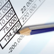 Stock Photo: Pencil over Financial Figures