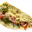 Herbed Omelette with Smoked Salmon - Stock Photo