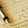 Stock Photo: Shorthand and Fountain Pen