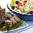Lamb Kebabs with Greek Salad — Stock Photo