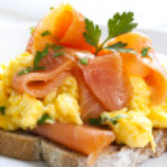 Smoked Salmon Scrambled Eggs — Stock Photo