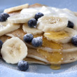 Banana and Blueberry Pancakes — Stock Photo