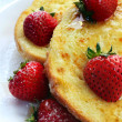 French Toast with Strawberries - Stock Photo