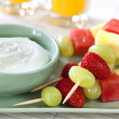 Stock Photo: Fruit Skewers with Yogurt