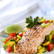 Salmon with Avocado Salsa — Stock Photo
