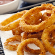 Fried Onion Rings with Ketchup and Lemon — Stock Photo