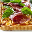 Prosciutto and Basil Quiche - Stock Photo