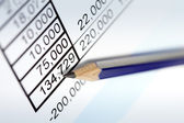 Pencil over Financial Figures — Stock Photo