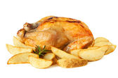 Roast chicken with Potato Wedges — Stock Photo