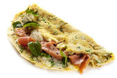 Herbed Omelette with Smoked Salmon — Stock Photo