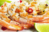 Chili Prawn Skewers — Stock Photo