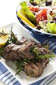 Lamb Kebabs with Greek Salad — Stock Photo