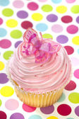 Pink Cupcake with Butterfly — Stock Photo