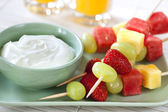 Fruit Skewers with Yogurt — Stock Photo