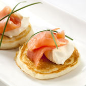 Smoked Salmon Blini — Stock Photo