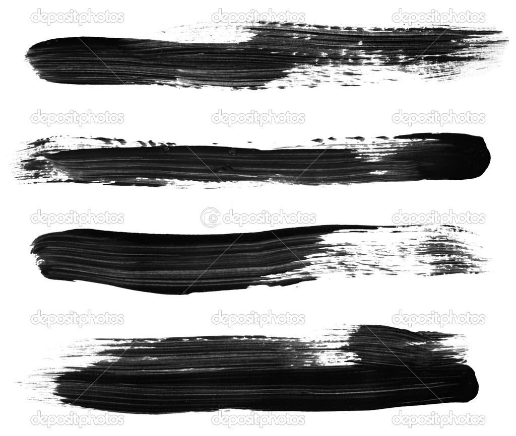 Variety of black paint brush strokes, isolated on white.  High resolution, each stroke photographed separately for best focus. — Stock Photo #5530475