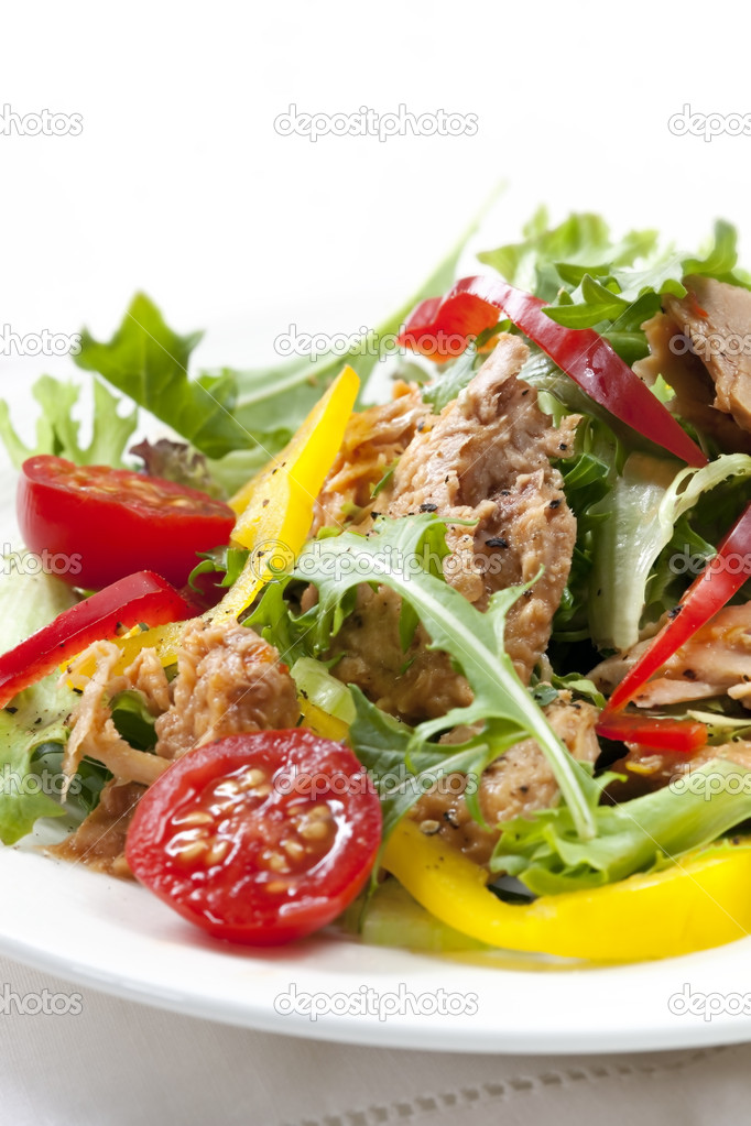 Tuna salad, healthy, simple and delicious.  Mixed green lettuce, capsicum, celery and cherry tomatoes. — Stock Photo #5530550