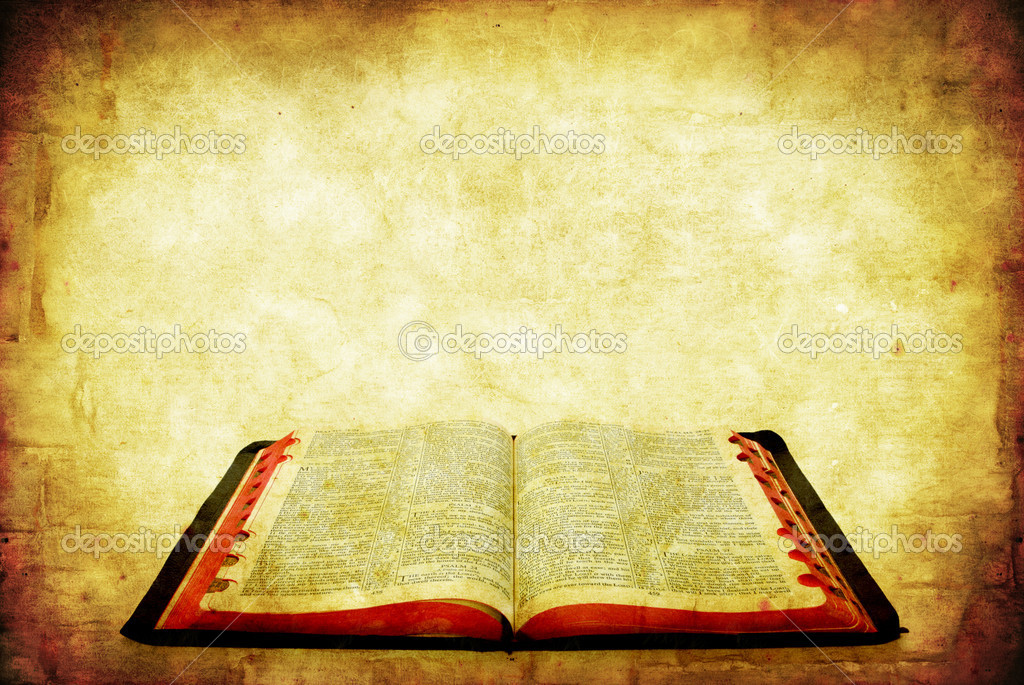 Open Bible over grunge sandstone background. — Stockfoto #5531953