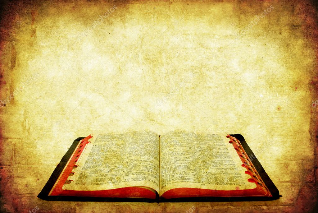 Open Bible over grunge sandstone background. — Foto de Stock   #5531953