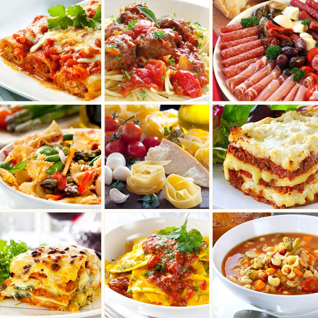 Collage of various Italian dishes. — Lizenzfreies Foto #5534779