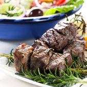 Lamb and Salad — Stock Photo