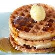 Waffles with Syrup and Butter - Stock Photo
