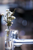 Flowers on Cafe Table — Stock Photo