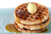 Waffles with Syrup and Butter — Stock Photo