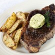 Stock Photo: Steak with Herbed Butter