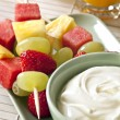 Stock Photo: Fruit Sticks and Yogurt
