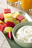 Fruit Sticks and Yogurt — Stock Photo