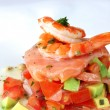 Stock Photo: Prawns and Avocado on Salsa