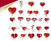 Collection of various hearts — Stock Vector