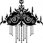 Black Chandelier Graphic Pattern — Stock Vector