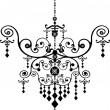 Stock Vector: Black Chandelier Graphic Pattern