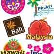 Variety of travel sticker — Stock Vector