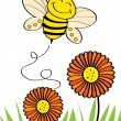 Stock Vector: Happy bee flying on top of flower