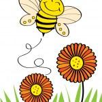 Happy bee flying on top of flower — Stock Vector