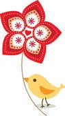 Icono gráfico pájaro para tarjeta de felicitación — Vector de stock