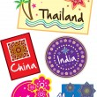 Stock Vector: Travel sticker set