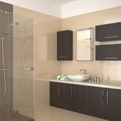Modern beige bathroom — Stockfoto
