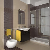 Modern beige bathroom — Stock Photo