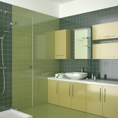 Green contemporary bathroom — Stock Photo