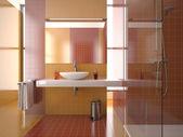 Modern red bathroom — Stock Photo