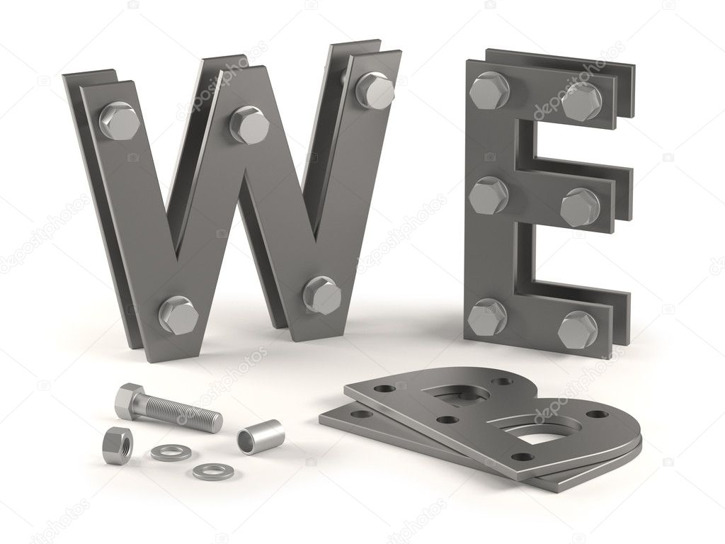 Concept of web site under construction with metal letters and bolts. — Stock Photo #5774168