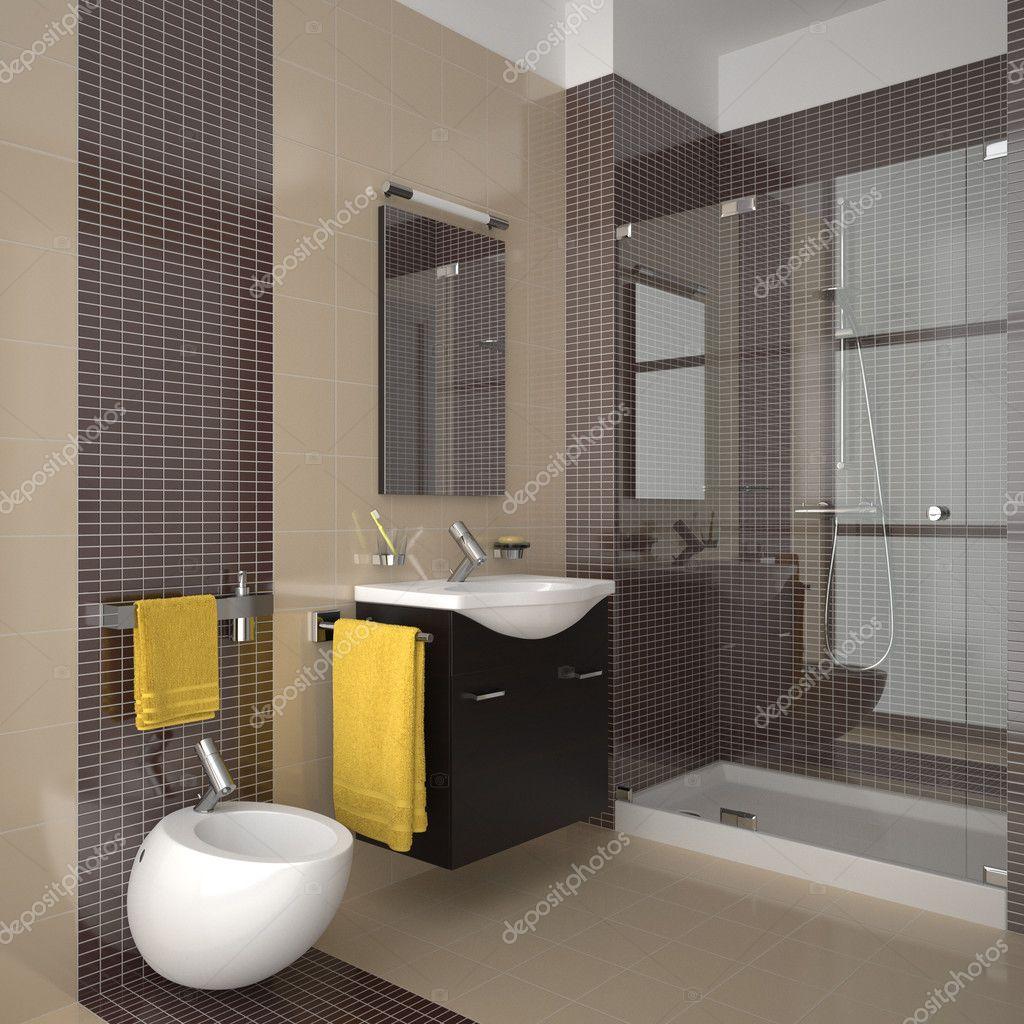 Moderna casa de banho bege — Fotografias de Stock © anhoog #5779202 #B48B17 1024x1024 Banheiro Com Azulejos Bege