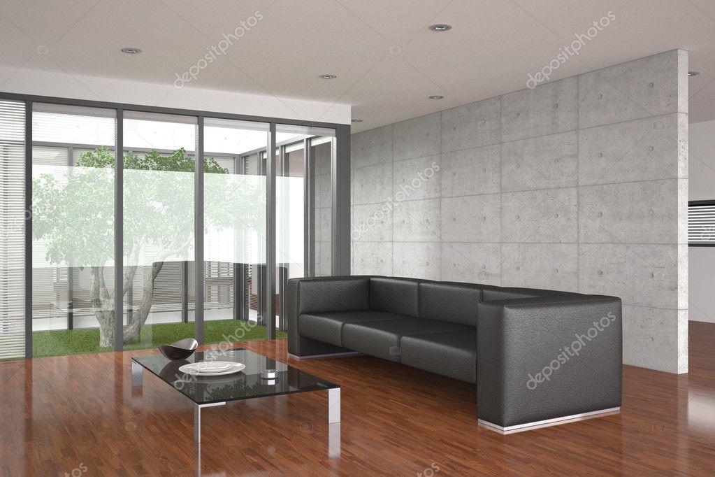 Moderno living comedor con piso de parquet foto de stock for Pisos para living comedor